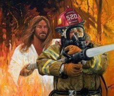 Awesome. Not only Jesus is white and a super-body builder as well, he's a firefighter too! Couldn't he just wave his hand and put out the fire with his magic juju? I guess not.