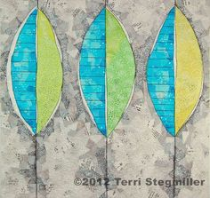 Three Leaves Art Quilt. $295.00, via Etsy.