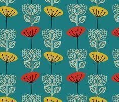 Retro Lotus fabric by joanne_headington on Spoonflower - custom fabric