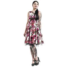 Audrey Medium-length dress – Buy now at EMP – More Rockabilly Romance Special Occasions Fashion & style Sommerkleider available online - Unbeatable prices! 50s Dresses, Pretty Dresses, Decorative Bows, Buy Dress, Flower Prints, Mid Length, Rockabilly, Special Occasion, Tulle