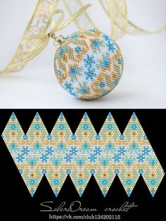 Schemes for Christmas balls from SolarDream - 36 photos Bead Crochet Patterns, Beaded Jewelry Patterns, Bracelet Patterns, Beading Patterns, Beaded Beads, Beads And Wire, Beaded Earrings, Beaded Ornament Covers, Beaded Ornaments
