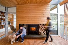 You have to love this #fireplace on a semi-enclosed #deck at Highway House by Room 11 (via Lunchbox Architect) - such a beautiful space.