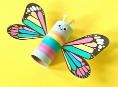"Rainbow Butterfly Paper Tube Kids Craft with Free Printables. Print this colorful design for a happy spring project for kids or there's a also a blank ""color in"" option to design your own! Easy Halloween Crafts, Easy Diy Crafts, Recycled Crafts, Crafts To Make, Arts And Crafts, Insect Crafts, Bug Crafts, Kids Crafts, Summer Crafts"