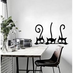 Buy NieNie Wall Sticker Lovely Three Black Cat DIY Wall Stickers for Kids Rooms Decoration Vinyl Wall Decor Wall Stickers Animals, Removable Wall Stickers, Wall Stickers Home Decor, Wall Stickers Murals, Vinyl Wall Decals, Window Decals, Vinyl Art, Sticker Mural, Wall Decor
