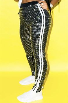 Women Sequin Black Glitter Contrast Stripe Sexy Pants - S Club Outfits For Women, Girl Outfits, Casual Outfits, Cute Outfits, Fashion Outfits, Clothes For Women, Vegas Outfits, Party Outfits, Swag Outfits