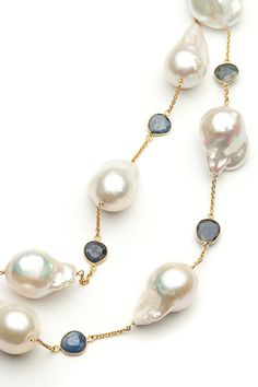 Bijoux de Mer Blue Sapphire and Baroque Pearl Necklace by Bijoux de Mer from Amanda Pinson Jewelry