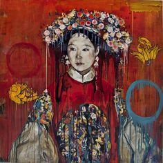 Hung Liu| Manchu Bride - Buddha's Hand, 2015, mixed media | Nancy Hoffman Gallery
