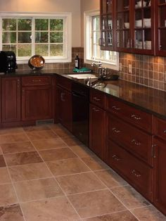 Cherry kitchen cabinets with travertine tile floor and backsplash  								Tags:  									st,   									louis,   									kitchen,