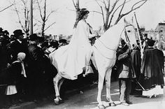 As one of the four mounted heralds of the Suffrage Parade on March 3, 1913, lawyer Inez Milholland Boissevain led a procession of more than 5,000 marchers down Washington D.C.'s Pennsylvania Avenue. The National American Woman Suffrage Association raised more than $14,000 to fund the event that became one of the most important moments in the struggle to grant women the right to vote — a right that was finally achieved seven years later.