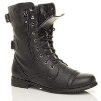 Black military-style boots.