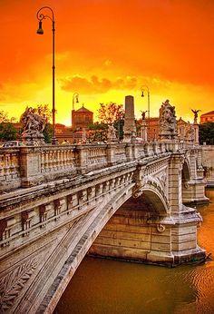 Sunset in Rome, province of Rome , Lazio