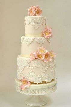 Weddbook ♥ Chic Lace Wedding Cakes with cake stands. Vintage wedding cake idea. 3 tier wedding cake. tier flower stand lace