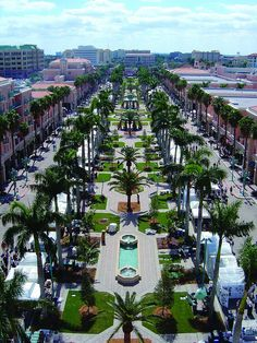 Aerial view of Mizner Park in Boca Raton, Florida. Mizner Park is a lifestyle center in downtown Boca Raton. Located at Mizner Park is Lord & Taylor, numerous specialty retailers and restaurants, apartments, and offices. Florida Usa, Boca Raton Florida, Visit Florida, Florida Living, Florida Travel, Florida Home, Florida Beaches, South Florida, Florida Vacation