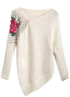 Sheinside® Women's Apricot Round Neck Floral Crochet Loose Sweater (One Size, Apricot)