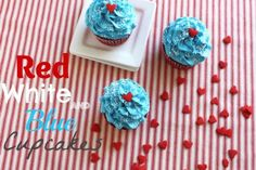 Red white and blue cupcakes @createdbydiane #july4th