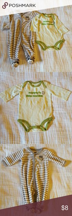 """Carters 3 months outfits Carters size 3 months.  1 long sleeve """"mommy's little monster"""" onsie.  1 long sleeve terry footed sleeper. carters One Pieces"""