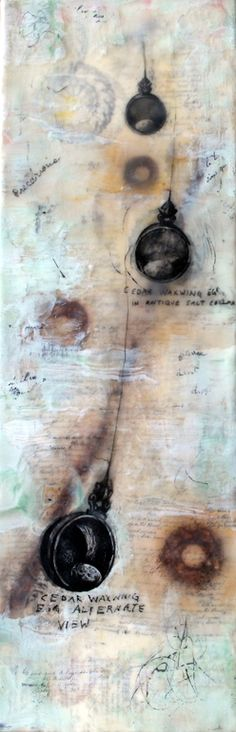 """Pencil studies for """"Tongue Tied""""  Encaustic and Rust Imprints   Deep Cradled Birch  6x18 inches    Available"""