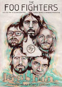 Foo Fighters Flood Relief Benefit Concert Poster.