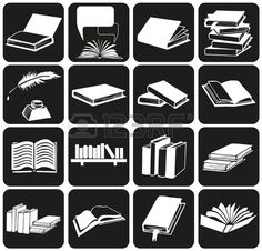 white icons on black background with theme of books and literature.