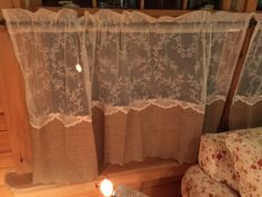 Burlap And Lace Curtains. Liquid Stitch And Sewing Bond Tape.