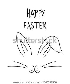 Happy easter day simple lettering with bunny face. Calligraphy postcard or poster graphic design lettering element, rabbit ears. Simple Lettering, Rabbit Drawing, Bujo Doodles, Happy Easter Day, Bunny Face, Graphic Design Posters, Spring Crafts, Cute Gifts, Rabbit Ears