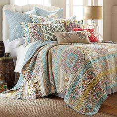 Give your bedroom a sophisticated bohemian vibe with the Levtex Home Selma Quilt Set. Bands of medallions, paisleys, and scroll print dress the front of this quilt, and it reverses to a rich teal scroll print.