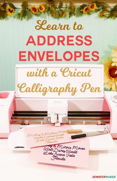 Cricut Writing and Pen Tutorial: Tips and Tricks – Jennifer Maker Address envelopes and invitations with a Cricut and a Calligraphy Pen! Cricut Invitations, Cricut Fonts, Invites, Diy Craft Projects, Fun Crafts, Diy And Crafts, Craft Ideas, Project Ideas, Homemade Crafts