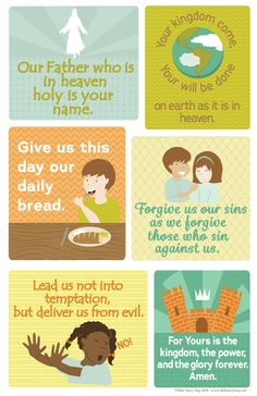 This Lord's Prayer poster is written in simple language for kids and is beautifully illustrated for a nice addition to any Bible classroom or children's room. It includes 6 images to help kids learn t
