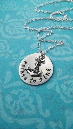 Anchor Necklace Refuse to Sink by TrueGracefulDesigns, $22.00