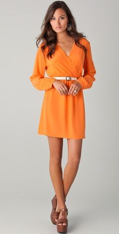 """Shopbop...Twelfth St. by Cynthia Vincent...Long Sleeve Mini Dress...Colour=Safety Orange...Silk...34"""" long...Love the style and colour but a little short if you are 5'6"""" or taller"""