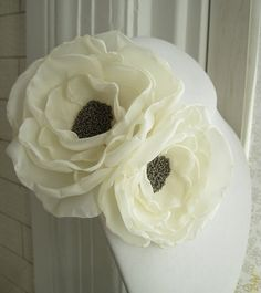 Items similar to fabric flower brooch - double bloom corsage pin in ivory with glass beaded center - Made To Order - LETITIA on Etsy