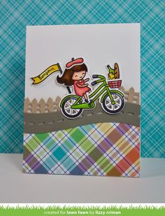 the Lawn Fawn blog: Lawn Fawn Intro: Bicycle Built for You, Road Border, Simple Road Border, Little Picket Fence Border