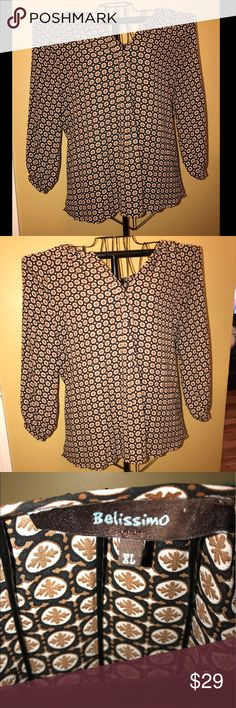 NWOT Belissimo Blouse🎉🎉 Pretty Plus Size (XL) Blouse. Paisley Pattern with sleeves. Never been worn! Brown, Black, and White. Belissimo Tops Blouses