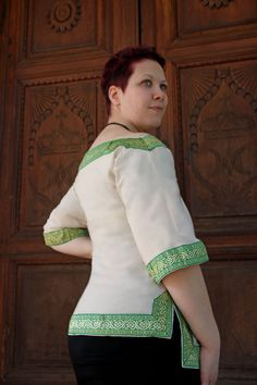 MADE TO ORDER  ivory cotton shirt with celtic by RavenThreadsLab