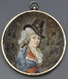 A young lady, facing right in riding habit, red-bordered blue coat with white lapels, gold and white striped waistcoat and frilled cravat, white scarf and tall black hat in her long powdered curled hair
