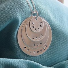 Hand Stamped Necklace - FOUR Sterling Silver Layers - Name Necklace - 4 Layers - Personalized Charm Necklace - Great Gift for Mom