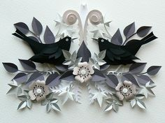 Black Birds on a bough by Helen Musselwhite