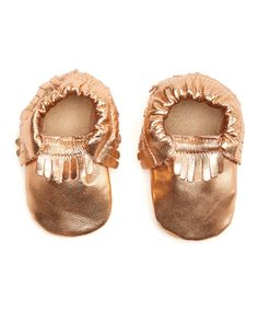 Girls Gold Fringe Leather Moccasins