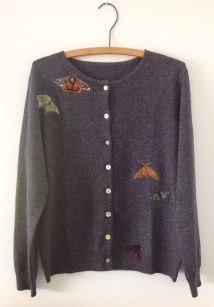 A wool cardigan with hand felted moth details by Lou Tonkin. Visible Mending, Darning, Wool Cardigan, Refashion, Knit Crochet, Crochet Patterns, Sewing, Knitting, Repurpose