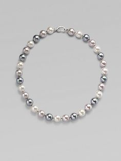 "OOH! A different type of pearl necklace. Do you like it? I'm not in love with it, but wondering if it could be useful. The pearls are too big. Maybe 8mm? Majorica - 12MM Multicolor Pearl & Sterling Silver Strand Necklace/17"" - Saks.com"