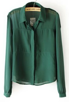 Green Lapel Long Sleeve Pockets Chiffon Blouse