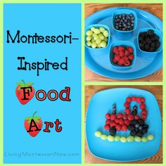 Food Art Montessori-inspired ideas for encouraging creativity and healthy eating - adaptable for any theme!Montessori-inspired ideas for encouraging creativity and healthy eating - adaptable for any theme! Toddler Snacks, Fun Snacks For Kids, Kids Meals, Food Art For Kids, Cooking With Kids, Food Kids, Cooking Ideas, Cute Food, Good Food