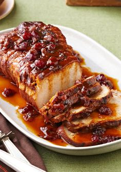 Slow-Cooker Cranberry-Orange Pork Roast – Cranberry sauce and the juice and zest of an orange, work their tasty magic in the slow-cooker so you can come home to this sweet and tart roast pork loin recipe. Slow Cooker Pork, Slow Cooker Recipes, Crockpot Recipes, Cooking Recipes, Game Recipes, Pork Roast Recipes, Kraft Recipes, Kraft Foods, Crock Pot Cooking