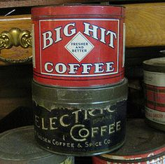 vintage coffee cans=decor Coffee Tin, I Love Coffee, Coffee Break, Coffee Shop, Vintage Tins, Vintage Coffee, Tin Can Alley, Tin Containers, Drum