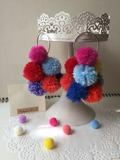 Handmade pompom earrings