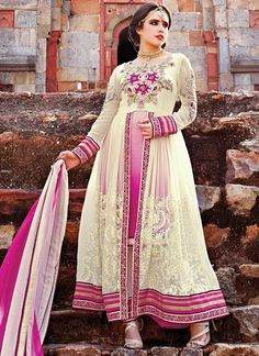 Cream Georgette Layered Straight Pant Suit