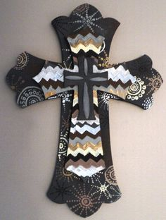 Customizable Hand Painted Wood Cross by emilytrujillodesign, $40.00