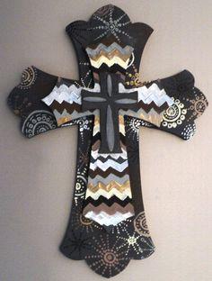 Customizable Hand Painted Wood Cross by emilytrujillodesign, $40.00