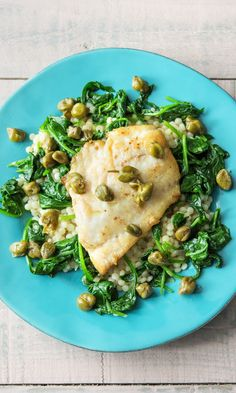 Rockfish Piccata with Sautéed Spinach, Israeli Couscous, and Lemon Caper Sauce…