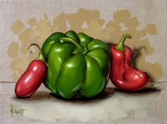 Green And Chilli Peppers - Original Fine Art for Sale - © Clinton Hobart